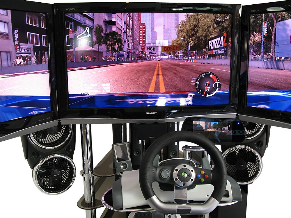 4 Xbox 360s, 4 LCDs, One VRX MACH 4