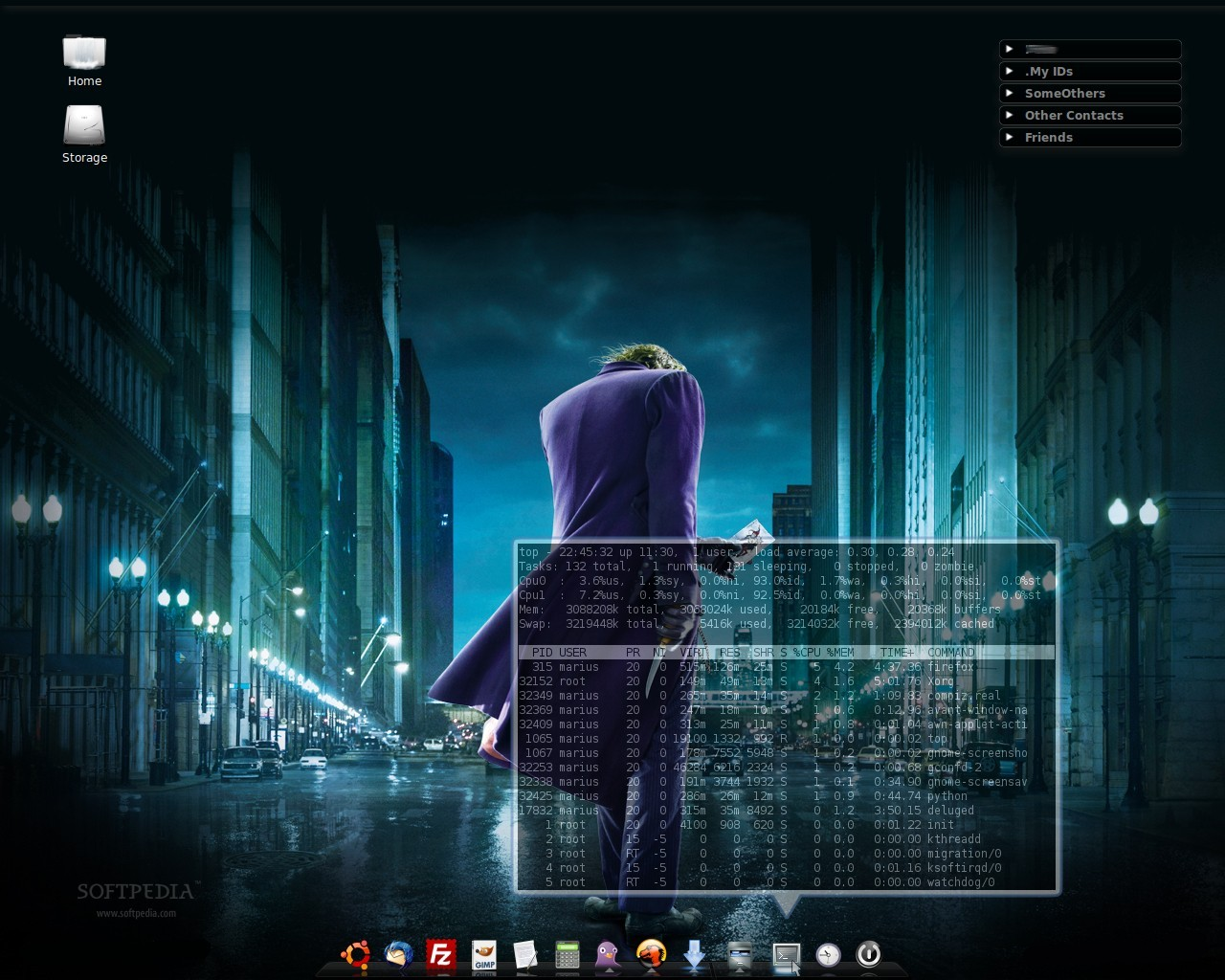 Ubuntu 810 Desktop With AWN Screenlets And Mashup Icons