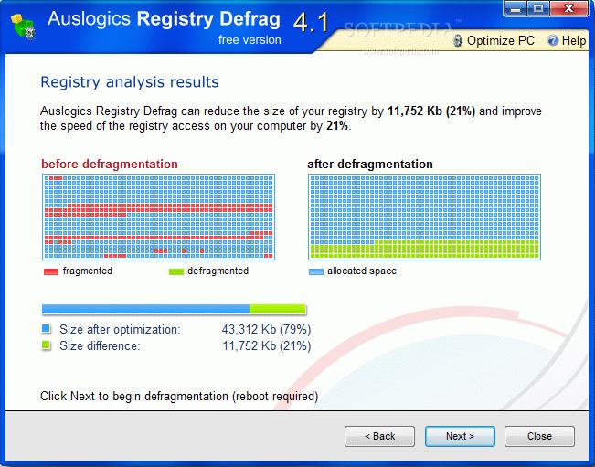نتيجة بحث الصور عن Auslogics Registry Defrag