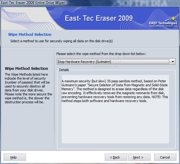 East-Tec Eraser Configuration and Final Word