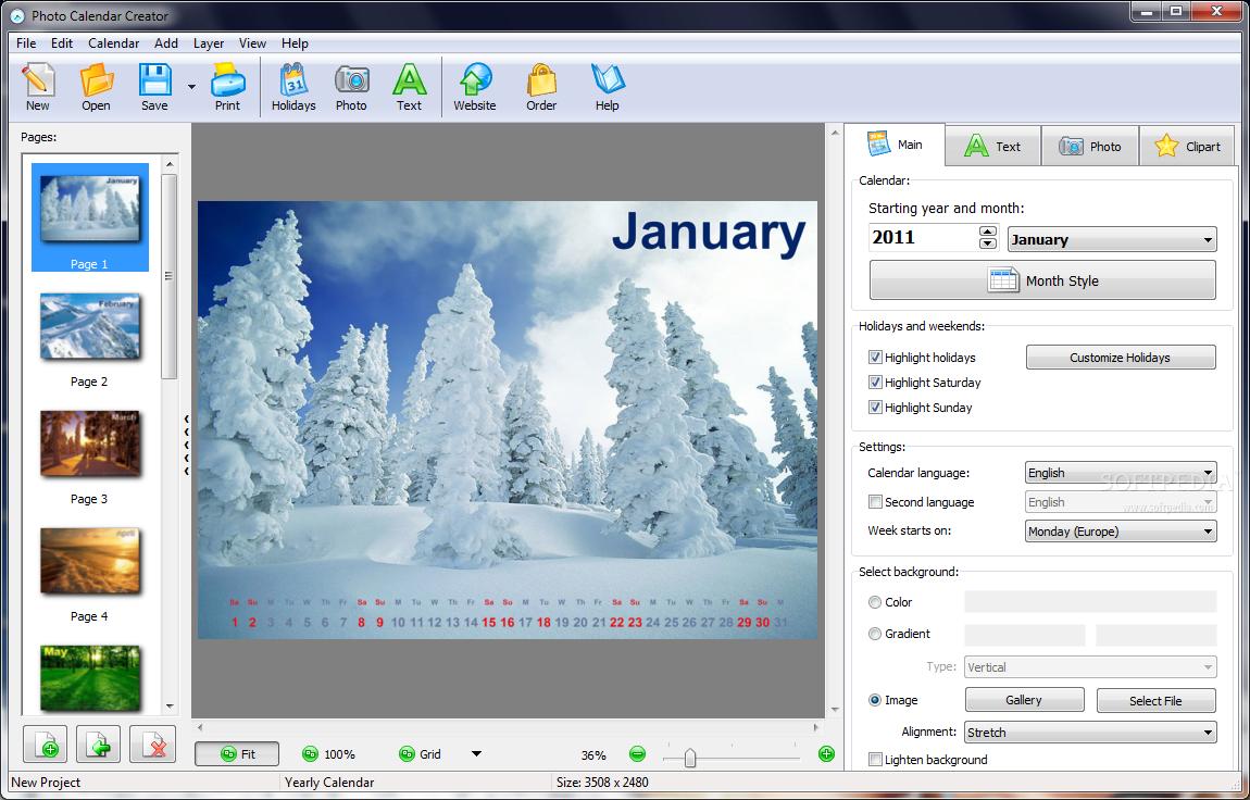 Calendar Graphic Generator : Create your own custom calendar