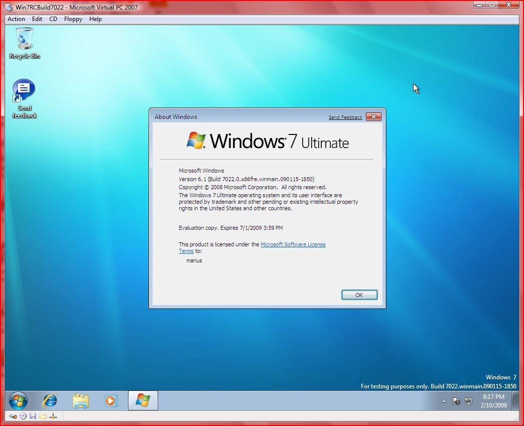 isclimal - Windows 7 ultimate evaluation copy build 7100