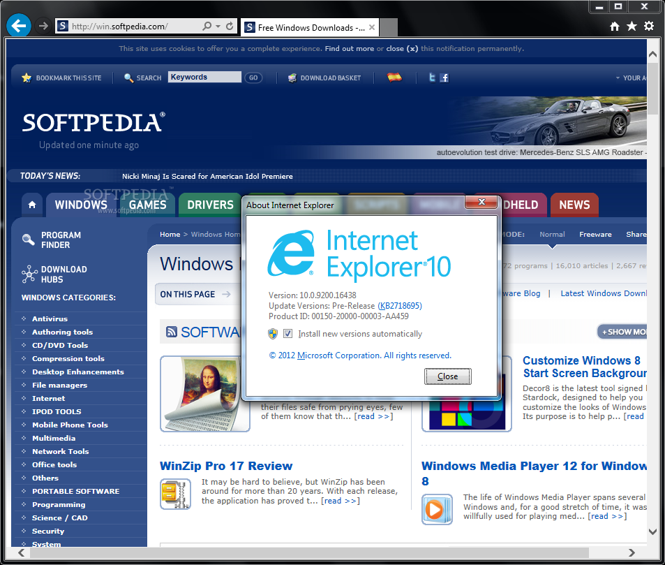 version internet explorer windows 7