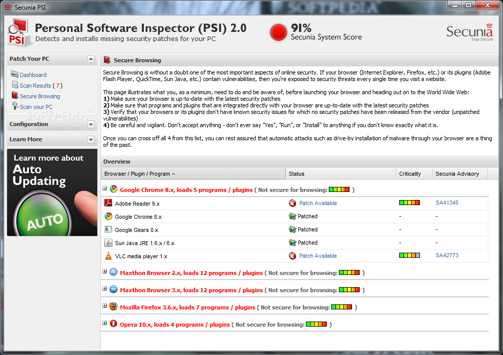Resultado de imagen de Secunia Personal Software Inspector