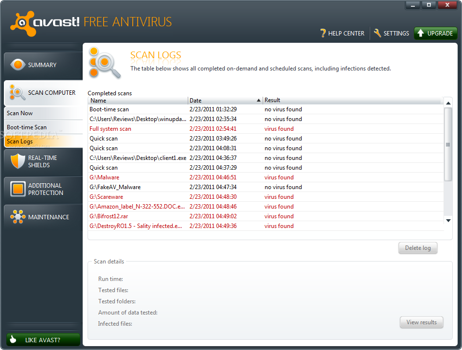 avast boot scan results