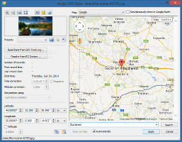Showing the GPS data options in Zoner Photo Studio
