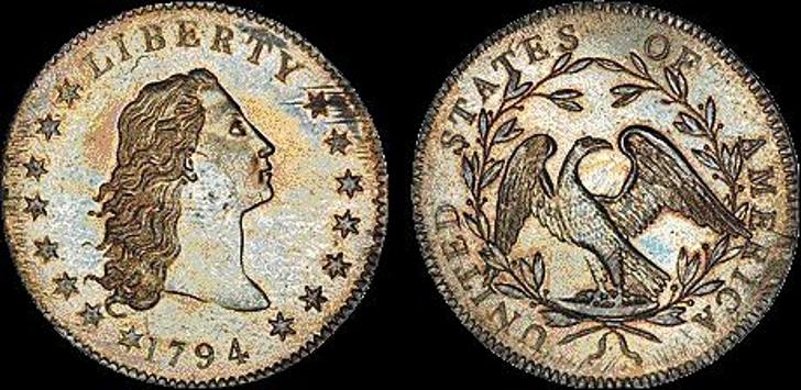 Un dólar de plata Flowing Hair de 1794 fue subastado por 10 millones de dólares