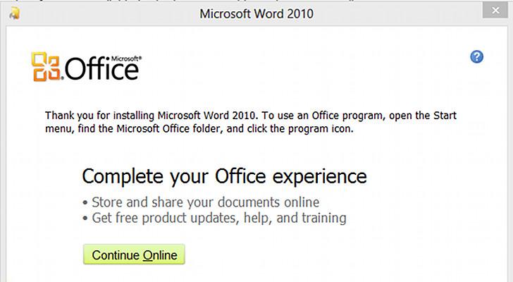 Fail: Office 2010 recomienda en W 8 utilizar menu inicio