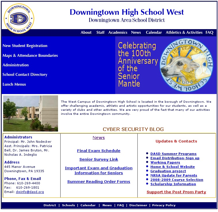 The Downingtown West High School web page