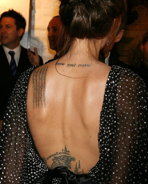 Angelina Jolie's Tattoos: Body Art or Self-Mutilation ...