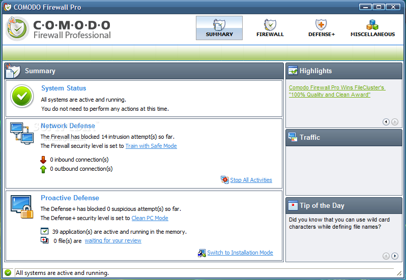 Comodo Firewall Pro in action