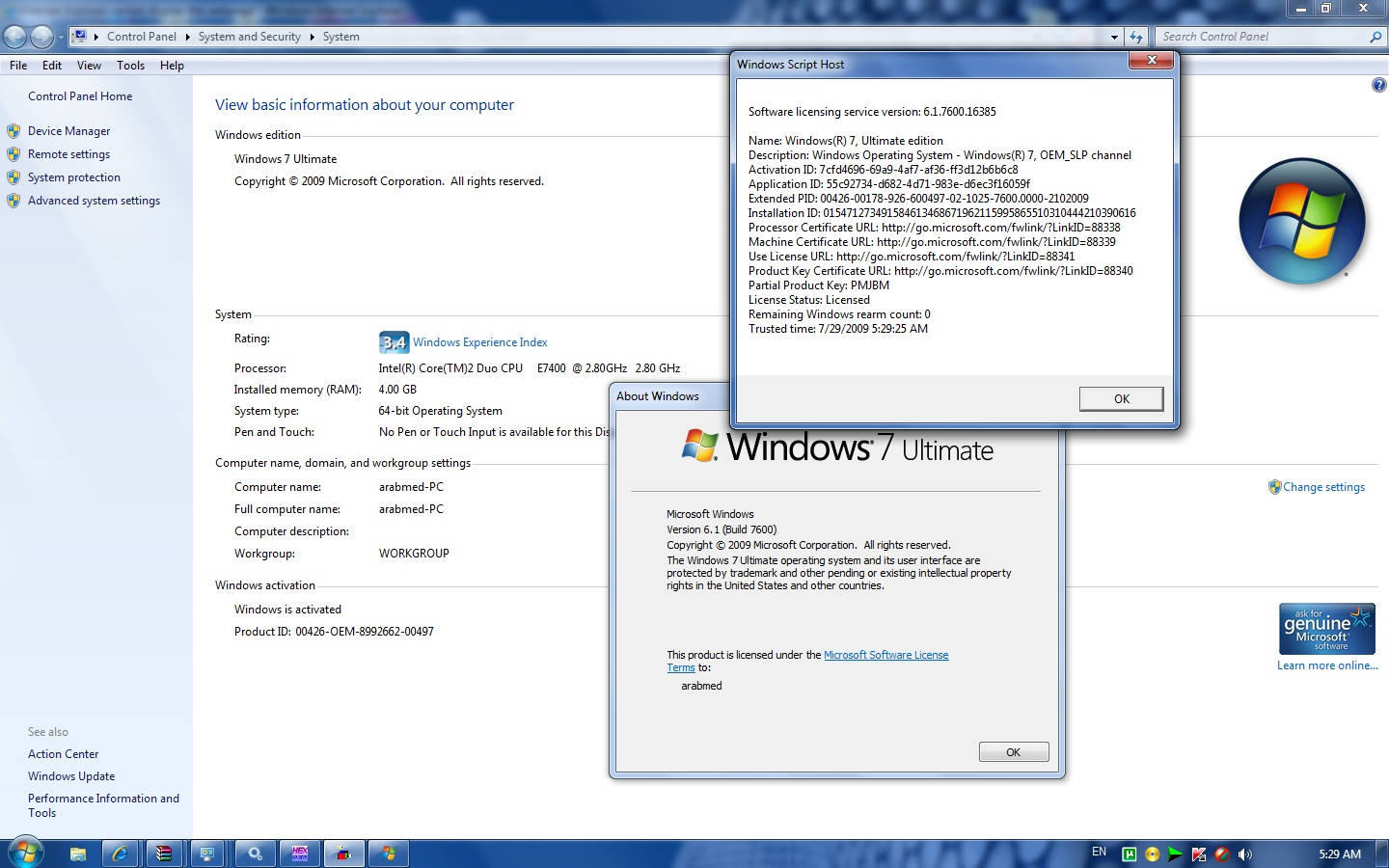 Windows 7 RTM Ultimate Activated with OEM SLP Master Product Key