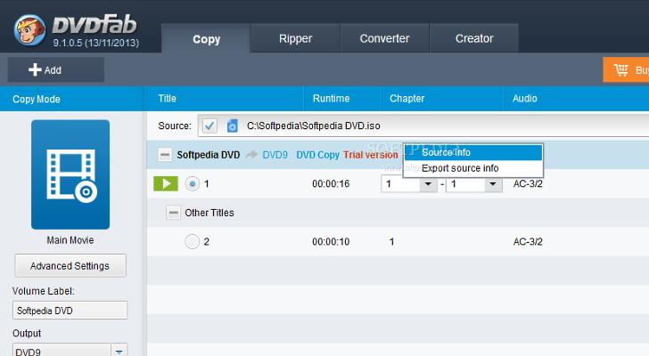 DVDFab 9.1.5.2 опирование DVD і Blu-Ray