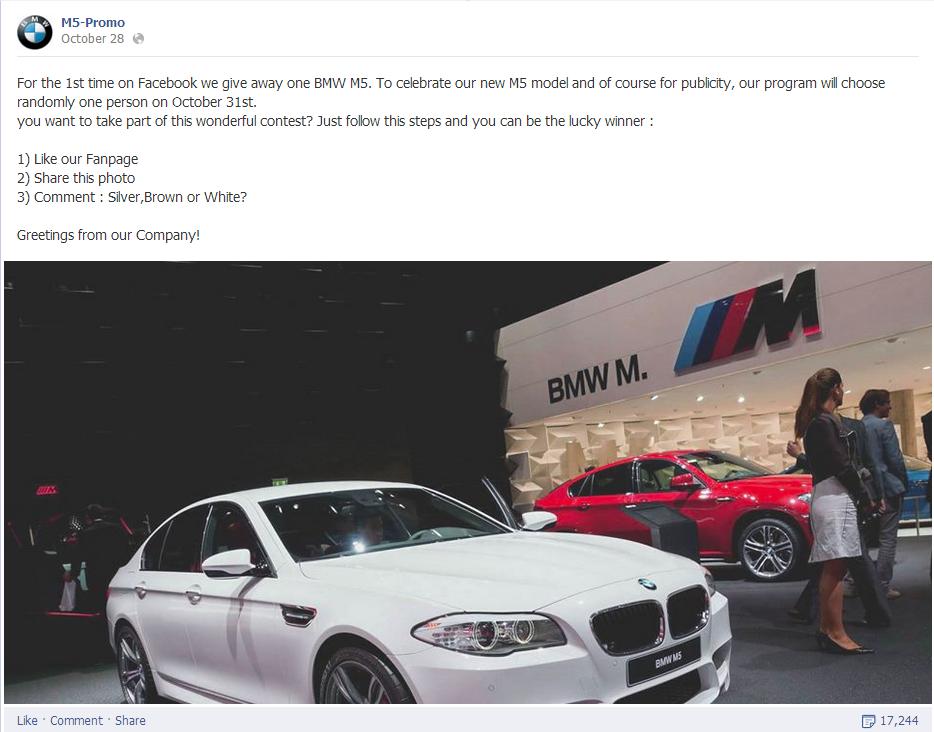 BMW M5 Facebook scam