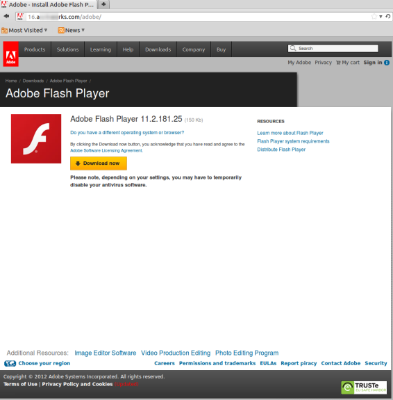 adobe flash player website