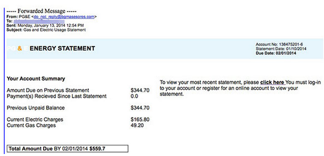 Fake Pg Amp E Gas And Electric Usage Statement Emails Spread