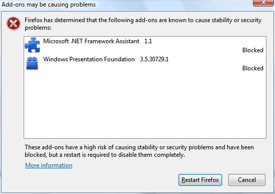 Mozilla bloquea extensión .NET 33
