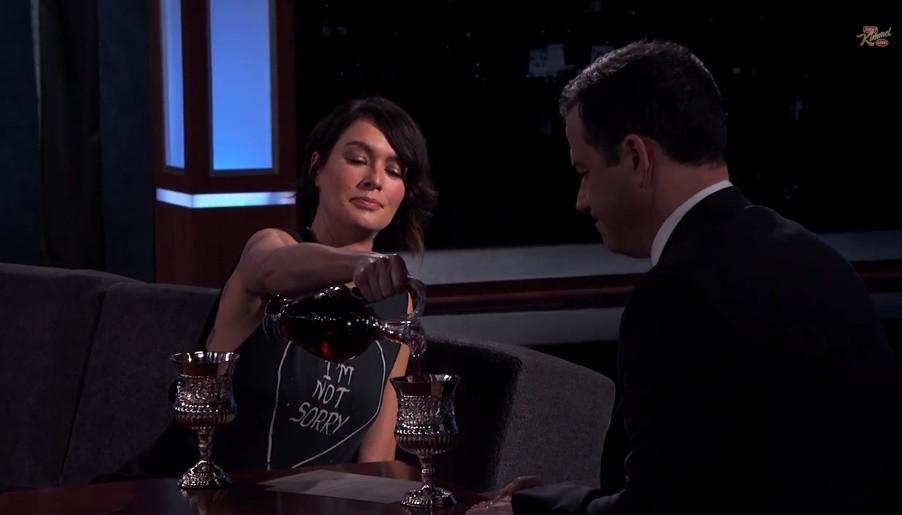 "Lena Headey, Jimmy Kimmel Drink Wine, Trade Insults ""Game ..."