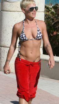 Singer pink in a bikini