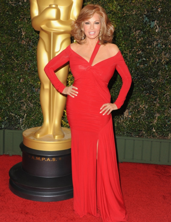 Raquel Welch, 73, Wows in Tight Red Dress at 2013 Governors Awards ...