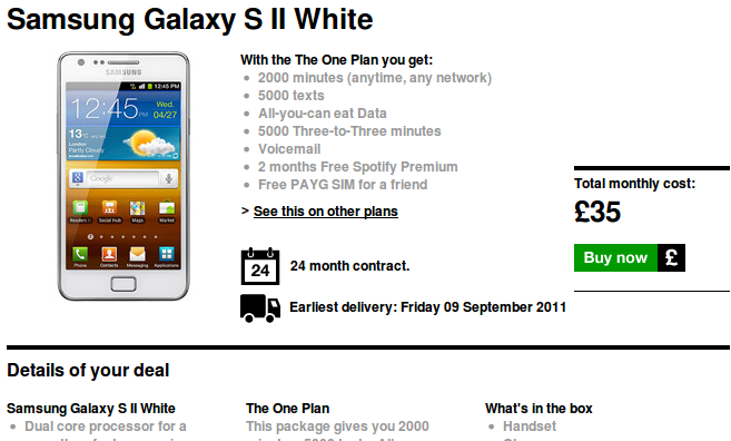 Samsung Galaxy S II White Arrives at Three UK