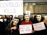 Anonymous members protesting