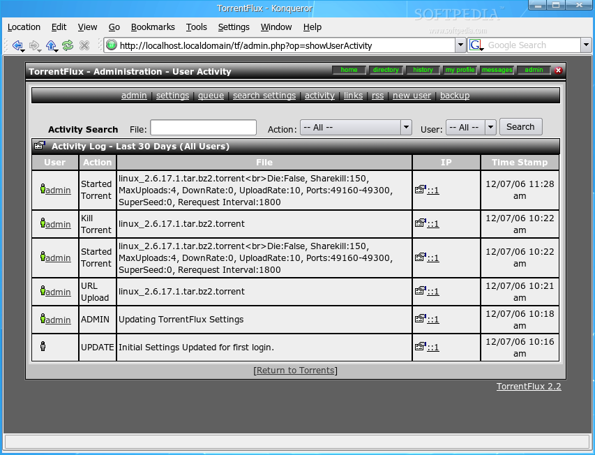 Установка torrentflux на обычный хостинг как сделать архив сайта на компьютер