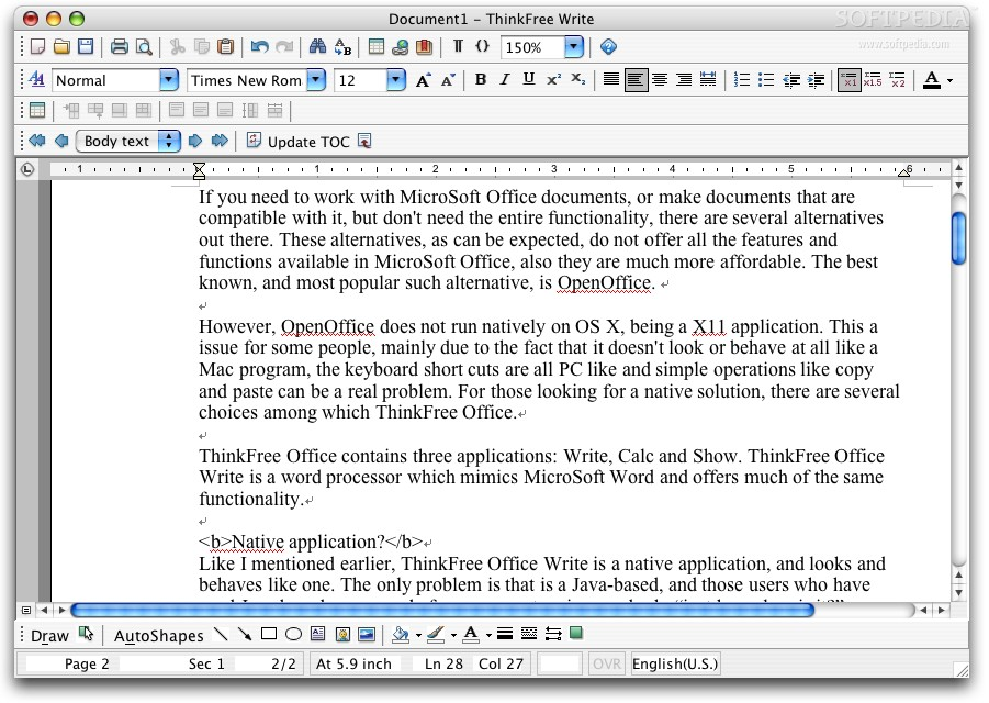 ThinkFree Office Write: Alternative to MS Word?